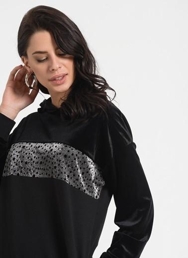 Styletag Kapüşonlu Kadife Sweat Elbise Siyah